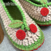 Joe's Toes Cherry crochet slipper kit in U.S. ladies sizes toe detail