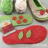All the parts for Joes' Toes Cherry crochet slipper kit with felt soles in U.S. ladies' sizes 3-14