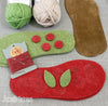All the pieces for Joes' Toes Cherry crochet slipper kit in U.S. ladies' sizes 3-14 with suede soles