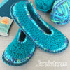 Joe's Toes Sarah Slipper kit in Crochet - Turquoise mix - ladies' sizes 3-14