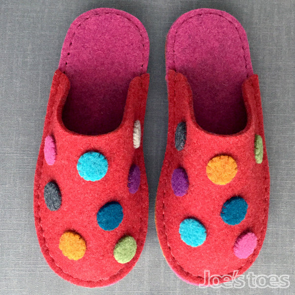 Dotty Felt Slippers in Women's Sizes