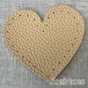 Joe's Toes latte heart shaped patch with stitch holes