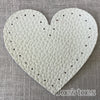 Joe's Toes light grey heart shaped patch with stitch holes