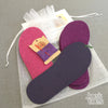 Joe's Toes kit with fuchsia and purple and rubber soles, purple thread, no yarn
