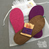 Joe's Toes kit with fuchsia and purple soles,  purple thread, suede soles, no yarn