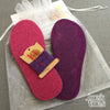 Joe's Toes kit with fuchsia and purple soles, purple thread but no yarn