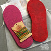 Joe's Toes kit with fuchsia and red soles, rainbow thread but no yarn
