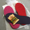 Joe's Toes kit with fuchsia, red and rubber soles, rainbow thread, no yarn