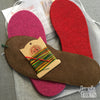 Joe's Toes kit with fuchsia and red soles,  rainbow thread, suede soles, no yarn