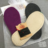 Joe's Toes kit purple and charcoal and suede soles, black thread but no yarn