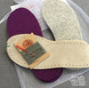 Joe's Toes kit purple and light gray  and suede soles, gray thread but no yarn