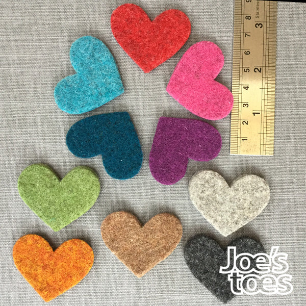 Joe's Toes small felt hearts in ten colours