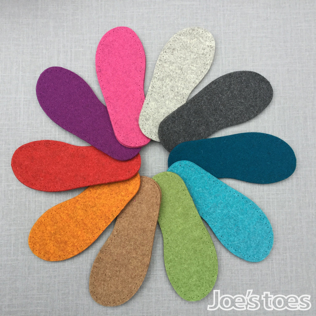 Joe's toes thick felt slipper soles in ten colours