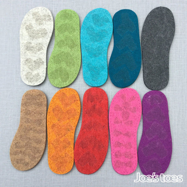 Joe's toes thick felt slipper soles  with latex grip in ten colours