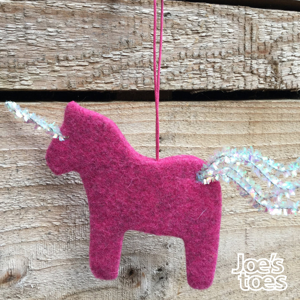 Joe's Toes Felt Unicorn Ornament