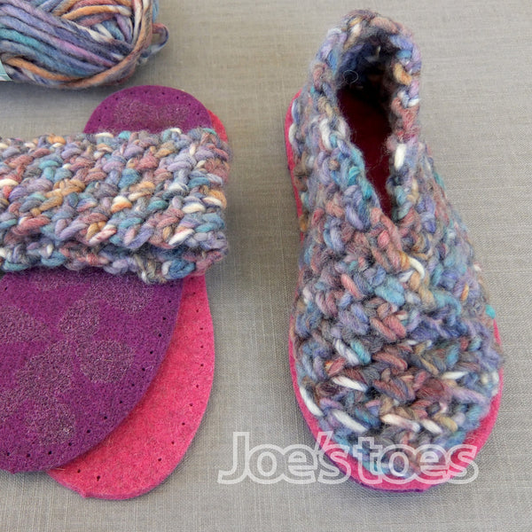 U.S. sizes Ladies' Crochet Crossover slipper kit - Joe's Toes Lilac Beach / 3-4 - 1