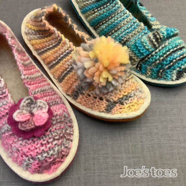 Simone Slippers in Pastel pure wool yarns by Joe's Toes