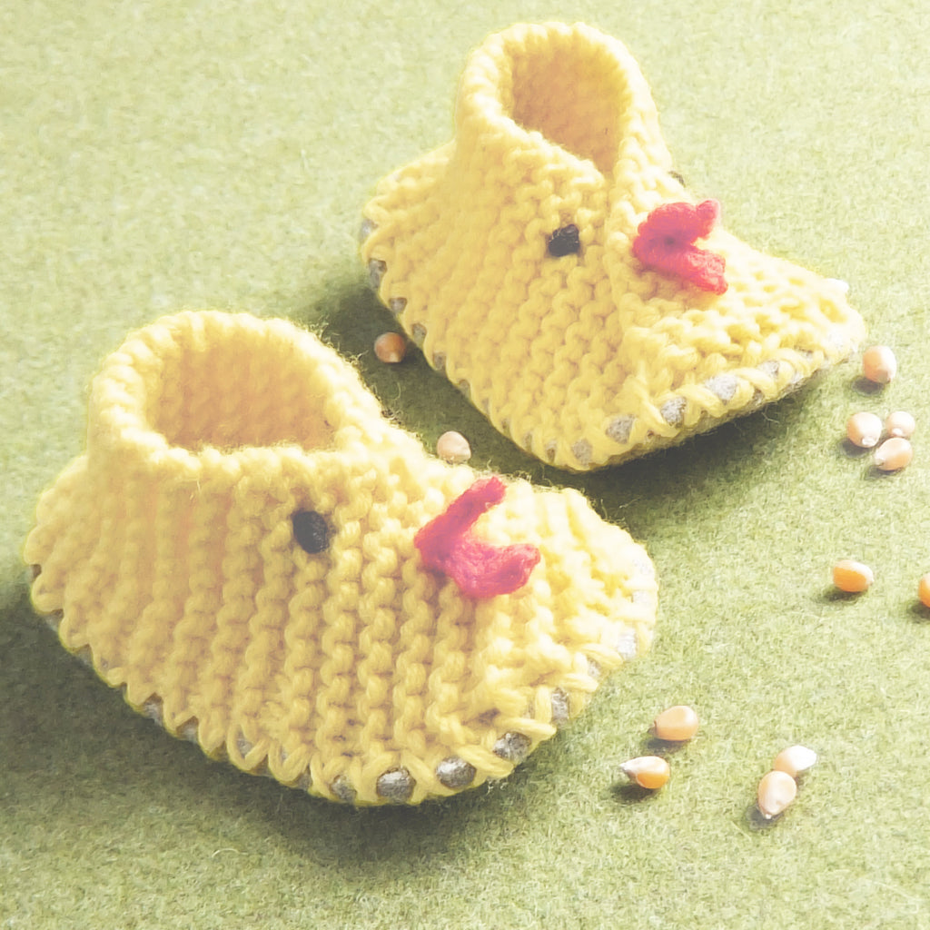 Baby Chick Easy Knit Booties With Soft Felt Soles
