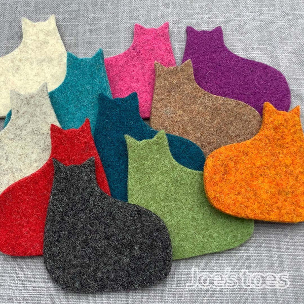 Joe's Toes wool felt cat in marmalade orange