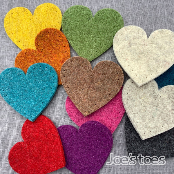 Joe's Toes big heart patches in thick wool felt with punched holes