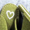 Green Felt Slipper - Cream Heart - Joe's Toes  - 2