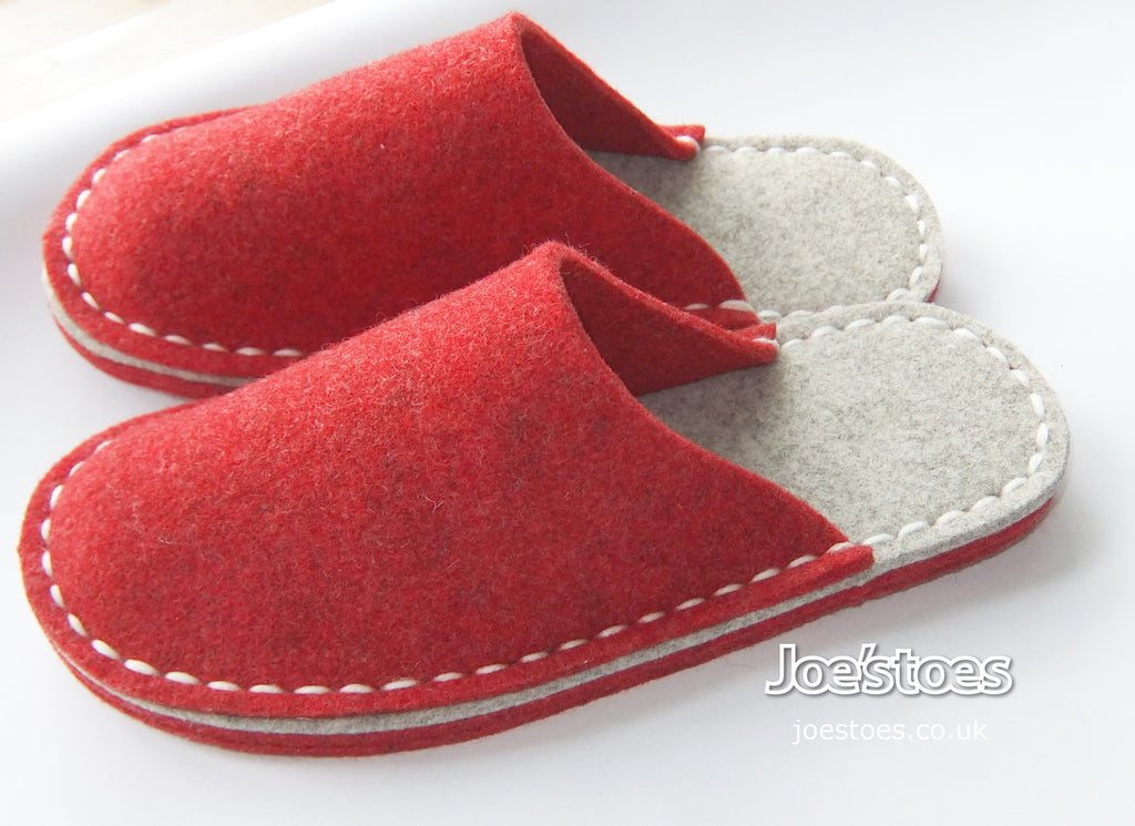 Joe's Toes red and gray felt slippers