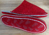 Simple red slipper sole felt with latex paint