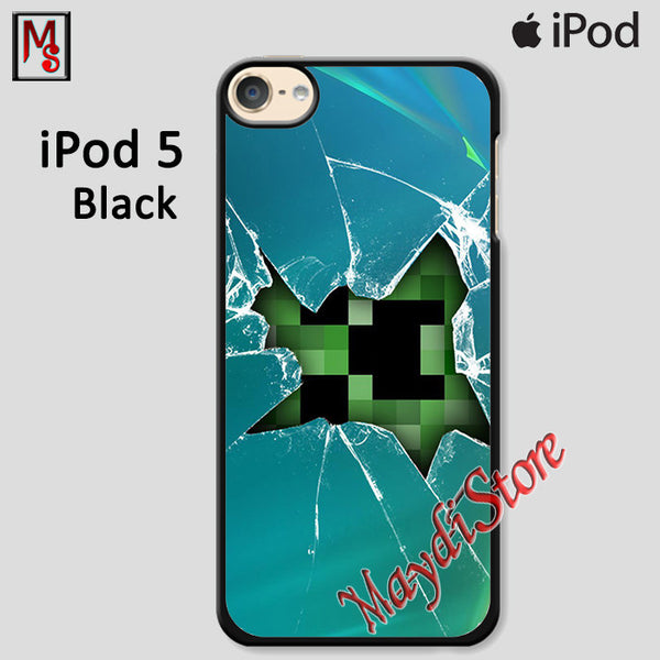Minecraft Creeper Broken Glasses For Ipod Touch 5 Case