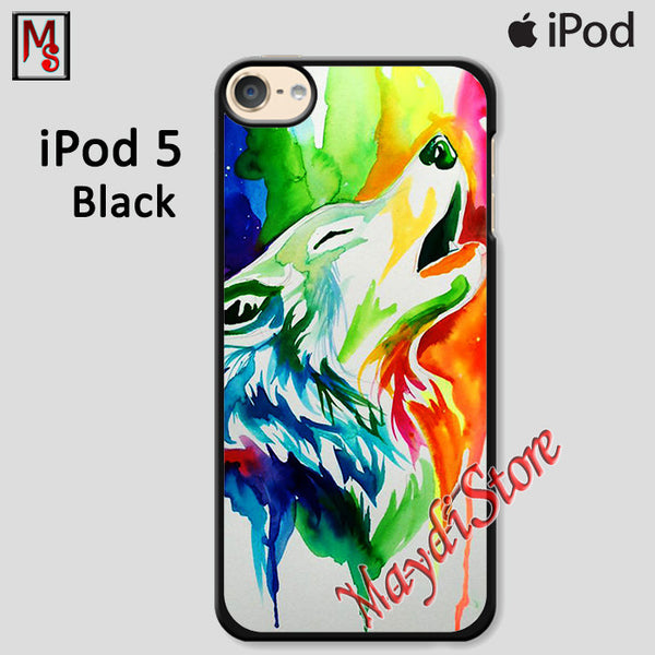 Rainbow Wolf Painting For Ipod Touch 5 Case