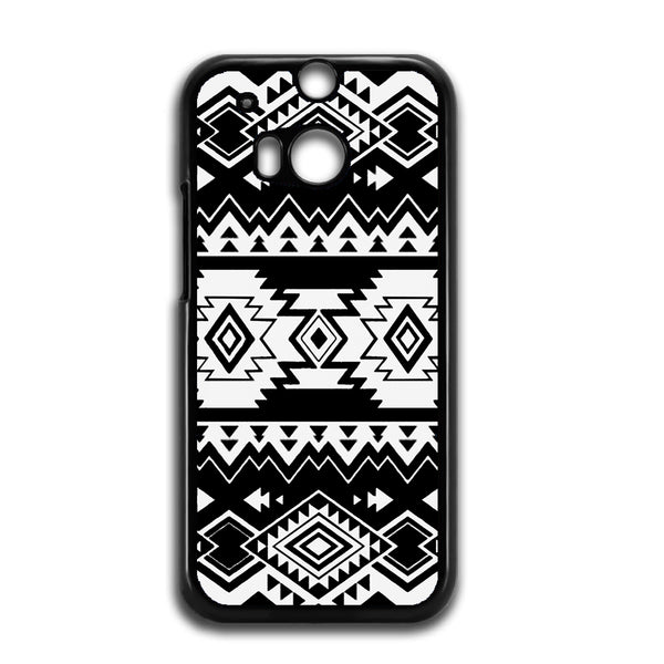 Tribal Navajo Seamless Pattern Black And White For HTC ONE M8 Case