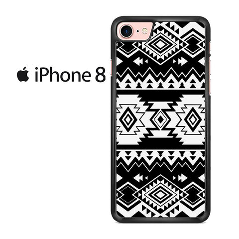 Tribal Navajo Seamless Pattern Black And White For IPHONE 8 Case