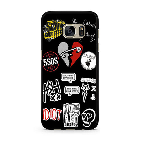 5sos Collage With Safety Pin Heart 5sos Logos Tallies And Tattoos For Samsung Galaxy S7 Case