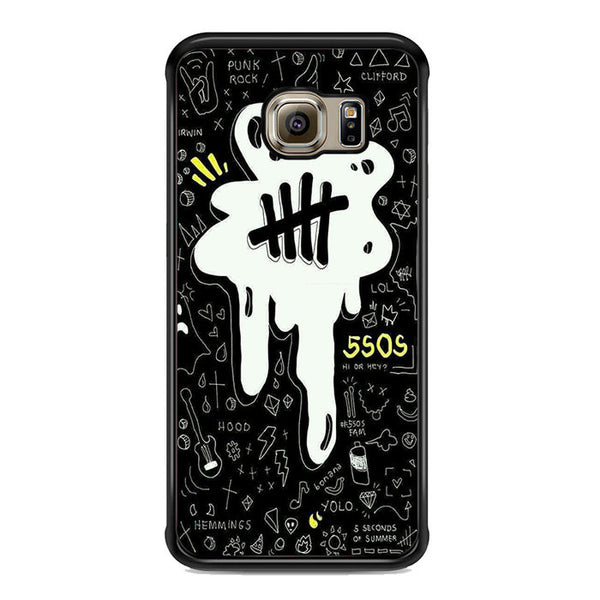 5sos Logo Art Black And White For Samsung Galaxy S6 Edge Plus Case