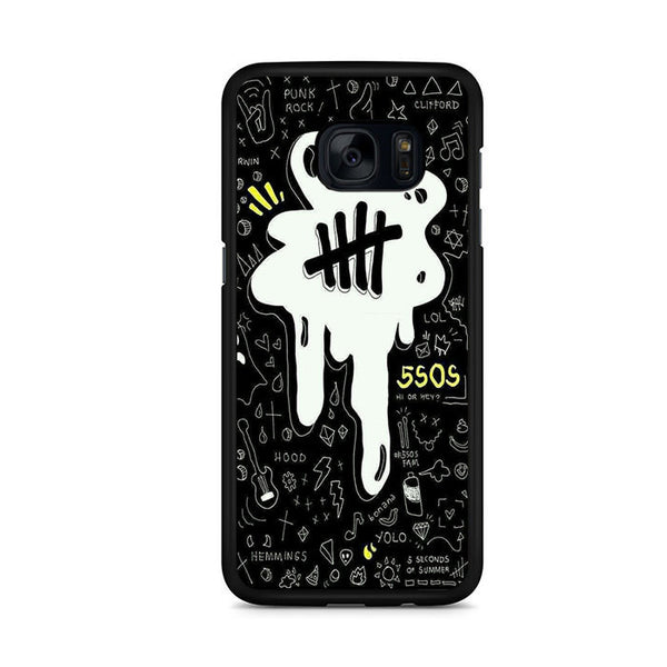 5sos Logo Art Black And White For Samsung Galaxy S7 Edge Case