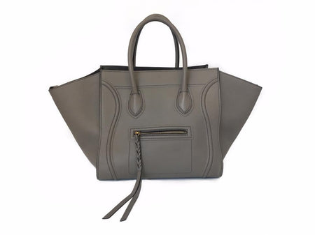 Celine Grey Drummed Calfskin Large Phantom Luggage Bag