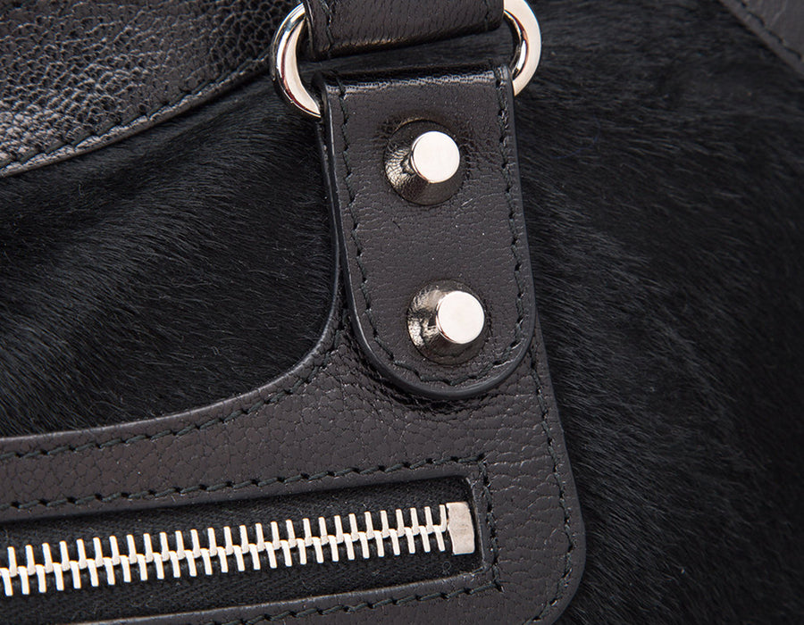 Balenciaga Black Pony Hair City Bag