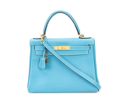 Hermes Blue Jean Evergrain Retourne Kelly 28cm Bag