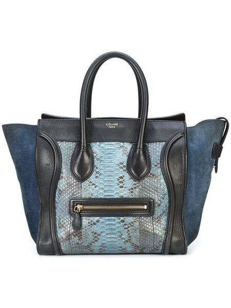 Celine Navy Python and Suede Mini Luggage Bag