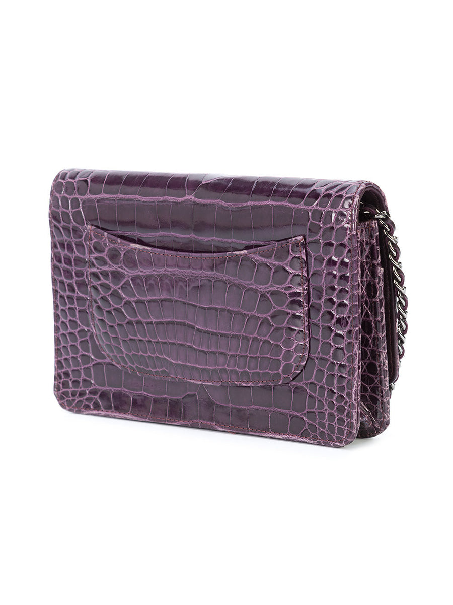 Chanel Amethyst Purple Alligator Wallet on Chain WOC Bag