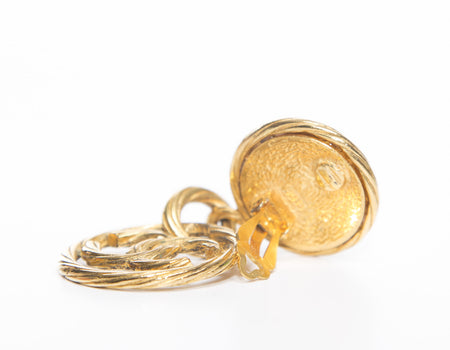 Chanel Gold CC Drop Hoop CC Vintage Clip On Earrings