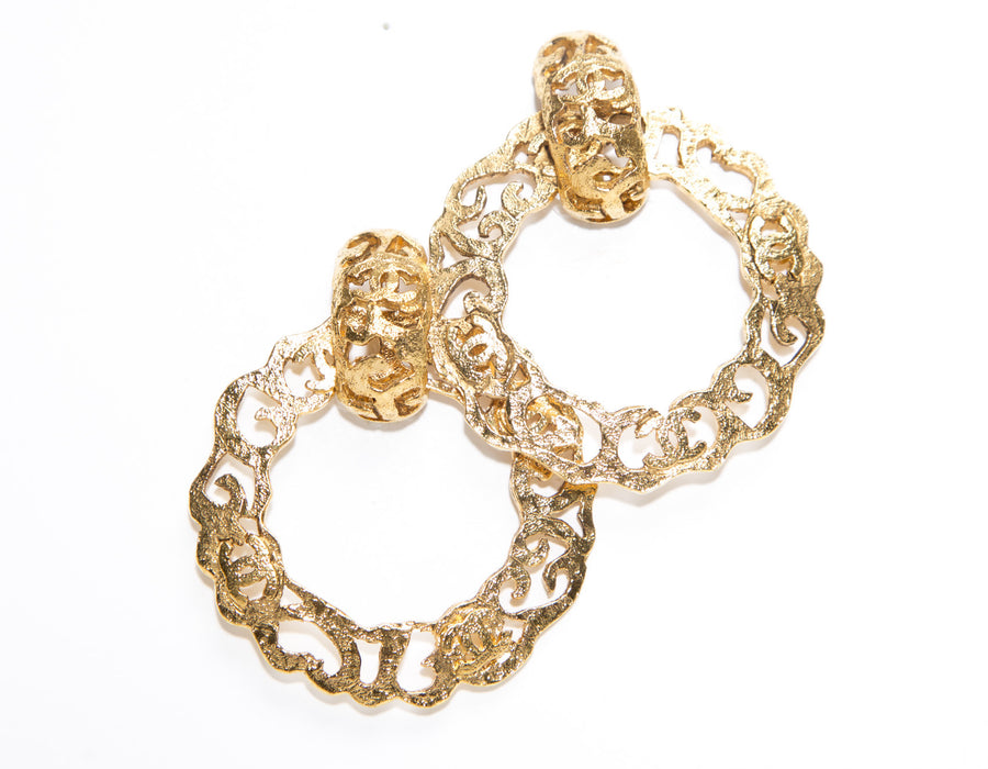 Chanel Gold CC Design Hoop Vintage Clip On Earrings