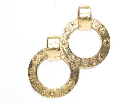 Chanel Gold Paris Chanel Hoop Vintage Clip On Earrings