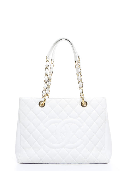 Chanel White Caviar Grand Shopping Tote GST Bag SHW