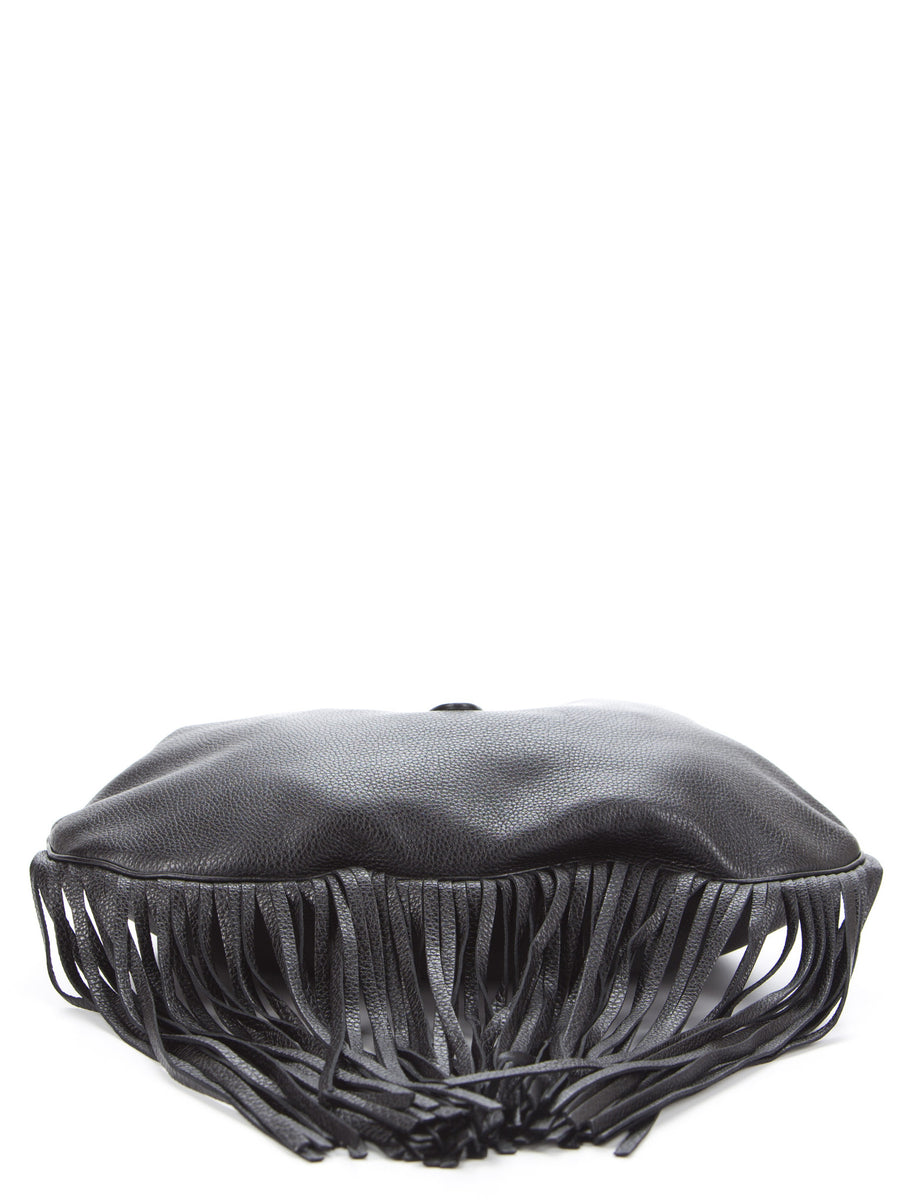 Gucci Black Leather Nouveau Fringe Jackie Hobo Bag