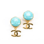 Chanel Turquoise Stone CC Drop Clip On Earrings