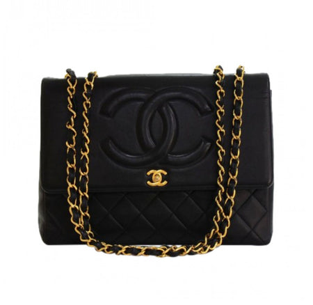 Chanel Rare Vintage Black Lambskin Maxi Flap Bag