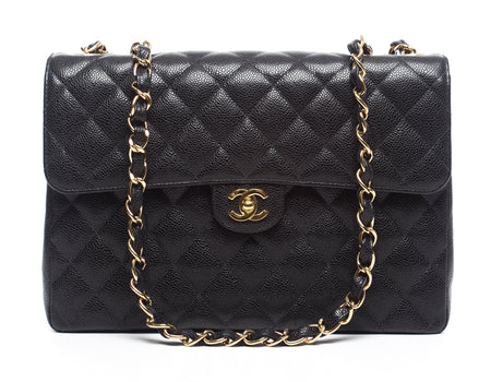 Chanel Vintage Black Caviar Jumbo Single Flap Bag