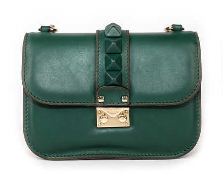 Valentino Vitello Emerald Green Small Rockstud Glam Lock Shoulder Bag