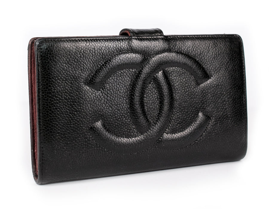 Chanel Black Caviar Leather Timeless CC French Wallet, Long