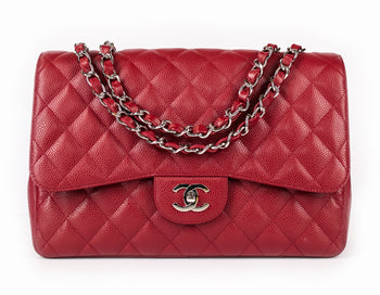Chanel Red Caviar Jumbo Single Flap Bag
